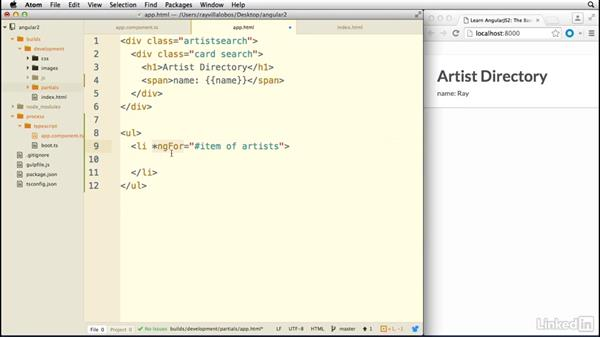 Displaying data in our templates: Learn AngularJS 2: The Basics