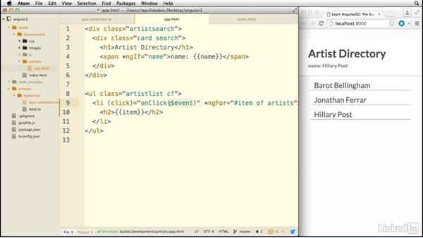Working with events: Learn AngularJS 2: The Basics
