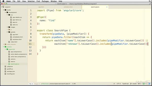 Filtering content through data pipes: Learn AngularJS 2: The Basics