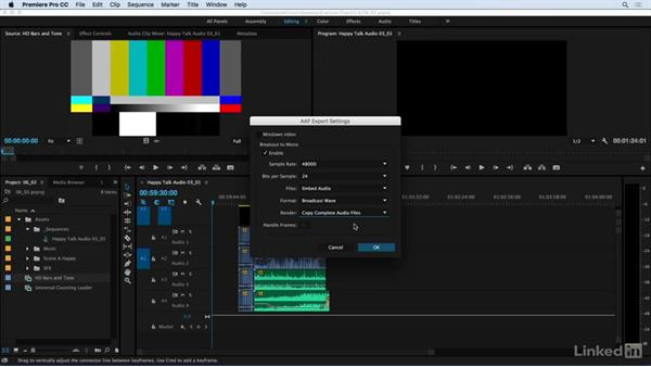 Exporting files for the audio session: Audio for Video: Production and Post Sound Techniques