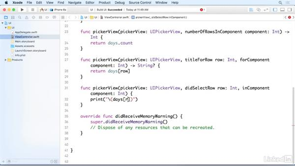 Respond to selection in a picker view: iOS 9 App Development with Swift 2 Essential Training