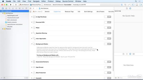 Background tasks: iOS 9 App Development with Swift 2 Essential Training