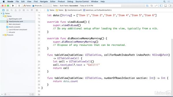 Load an array into a table view: iOS 9 App Development with Swift 2 Essential Training