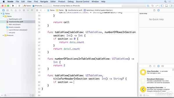 Add section headers to table views: iOS 9 App Development with Swift 2 Essential Training