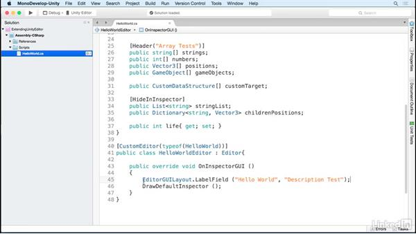Modify what the Inspector displays: Building Custom Tools to Extend the Unity IDE