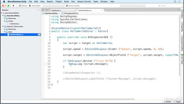 Add buttons to a custom editor: Building Custom Tools to Extend the Unity IDE