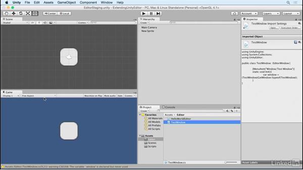 Build a custom window: Building Custom Tools to Extend the Unity IDE
