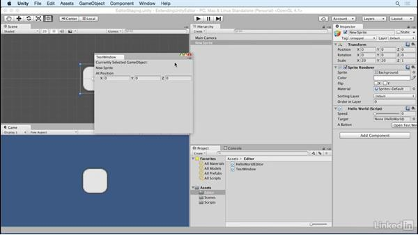 Display in a window: Building Custom Tools to Extend the Unity IDE