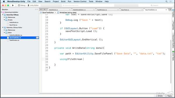 Write data to the asset folder: Building Custom Tools to Extend the Unity IDE