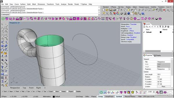 Extrude line and edge from curve: Rhino: Introduction to T-Splines