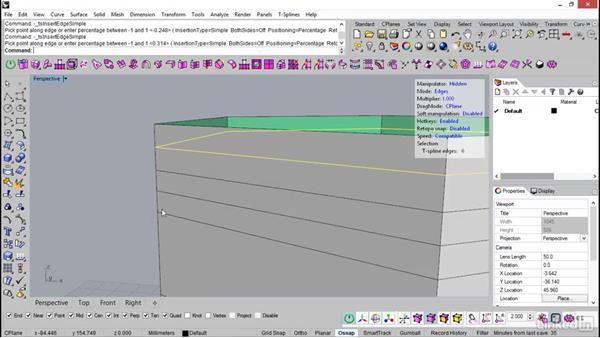 Insert edge in T-Splines: Rhino: Introduction to T-Splines