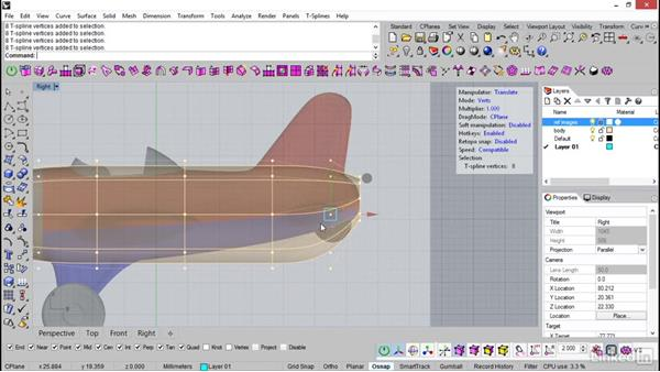 Building the body of the plane: Rhino: Introduction to T-Splines
