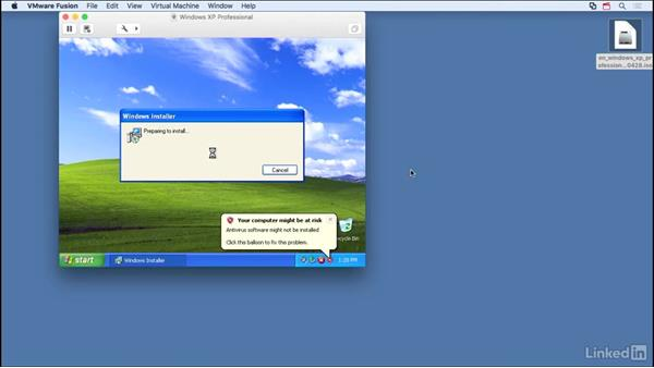 Set up Windows XP as guest: Learn VMware Fusion 8: The Basics