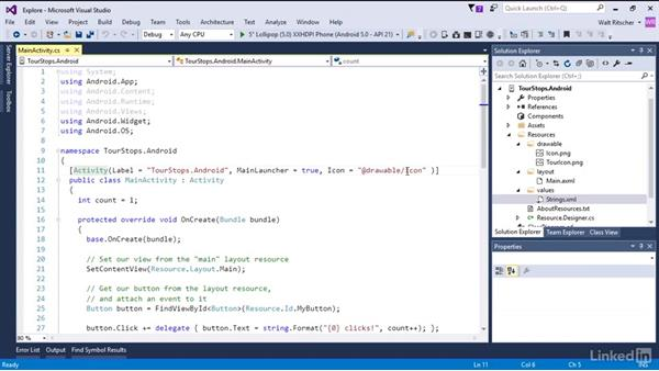 Explore the parts of a Xamarin Android app: Xamarin Essential Training