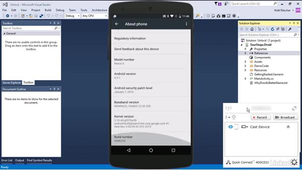 Unlock the Android phone for development: Xamarin Essential Training