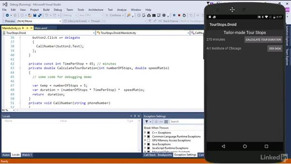 Debug the app on an Android device: Xamarin Essential Training