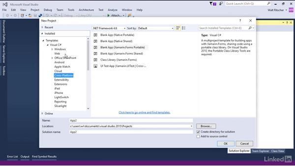 Create the project in Visual Studio: Xamarin Essential Training