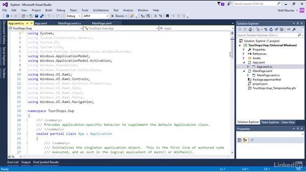 Explore the parts of the Universal Windows app: Xamarin Essential Training