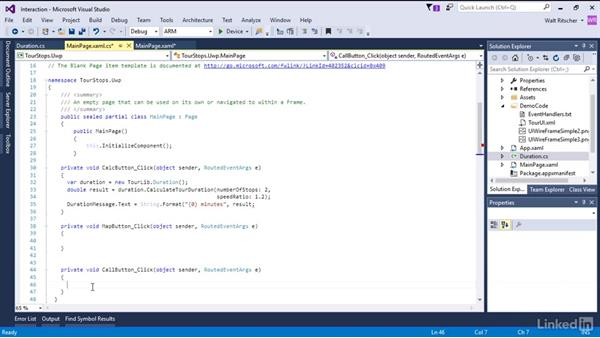 Write the interaction code for the  app: Xamarin Essential Training