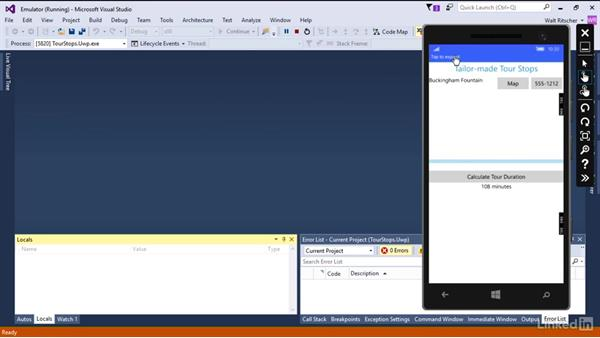 Debug the app on an emulator: Xamarin Essential Training