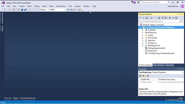 Debug the app on a Windows device: Xamarin Essential Training