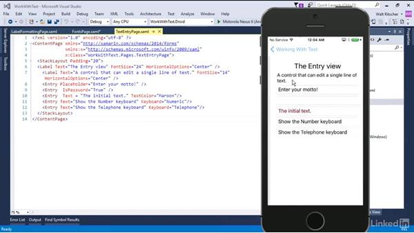 Work with text: Xamarin Essential Training