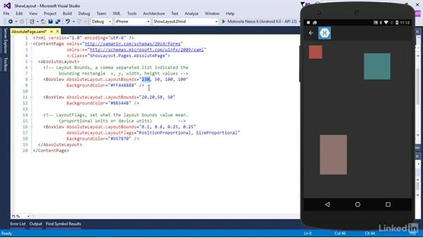 Use absolute layouts: Xamarin Essential Training