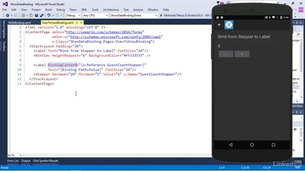 Bind from view to view: Xamarin Essential Training