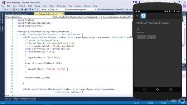 Convert data within a binding: Xamarin Essential Training
