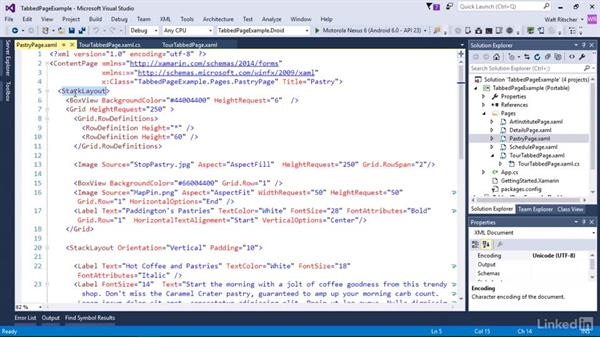 Use the TabbedPage and CarouselPage: Xamarin Essential Training