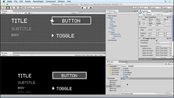 Create a toggle button prefab: Unity 5 2D: Advanced UI