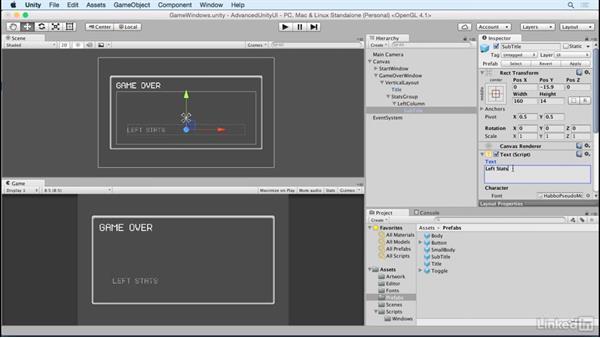 Group stats into columns: Unity 5 2D: Advanced UI
