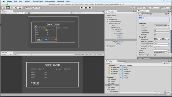 Add stats values to the game over screen: Unity 5 2D: Advanced UI