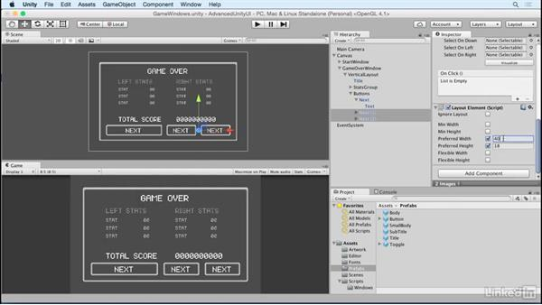 Add buttons to the game over screen: Unity 5 2D: Advanced UI