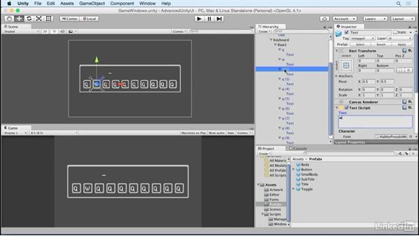 Lay out the keyboard: Unity 5 2D: Advanced UI