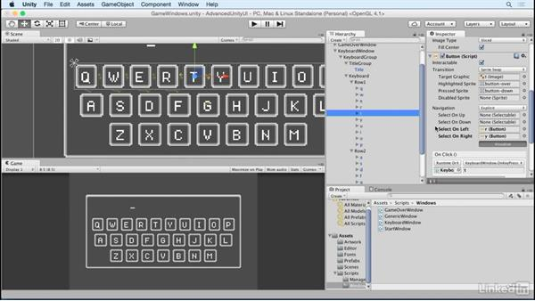 Add navigation to the keyboard: Unity 5 2D: Advanced UI