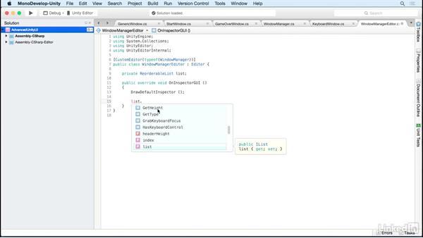 Build a custom editor: Unity 5 2D: Advanced UI