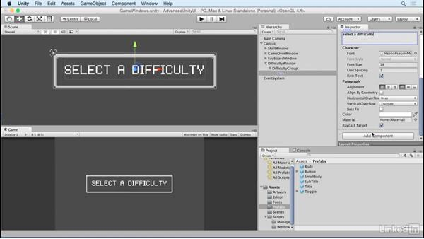 Build the difficulty window: Unity 5 2D: Advanced UI