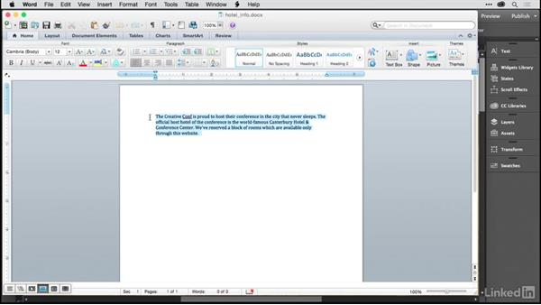 Importing text from Microsoft Word: Building a Single-Page Website in Muse