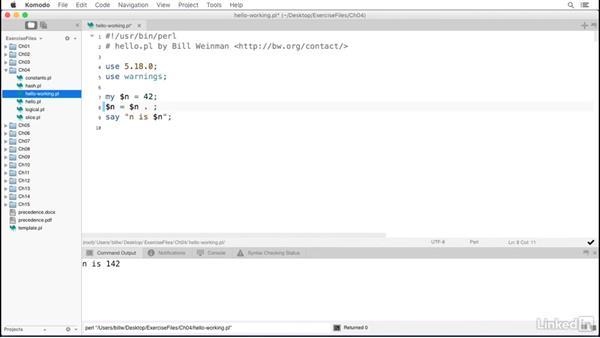 Numeric variables: Perl 5 Essential Training