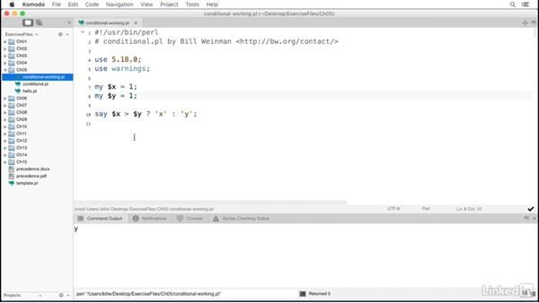 The ternary conditional operator: Perl 5 Essential Training