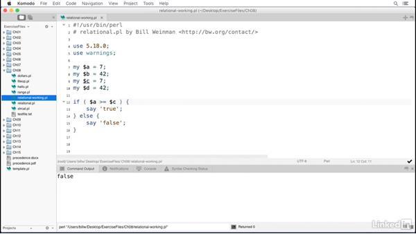 Relational operators: Perl 5 Essential Training
