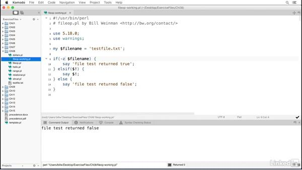 File test operators: Perl 5 Essential Training