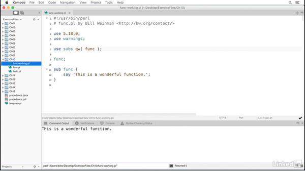 Predeclared functions: Perl 5 Essential Training