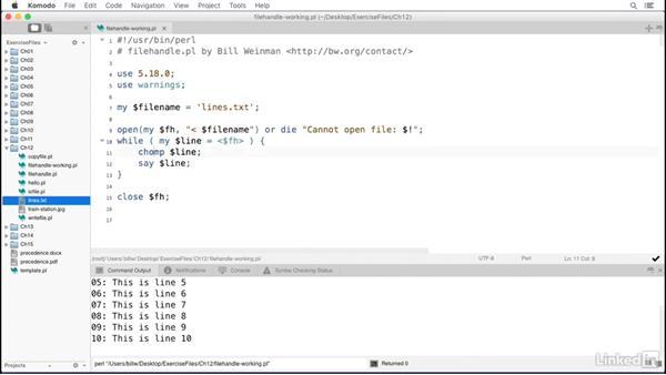 Using file handles: Perl 5 Essential Training