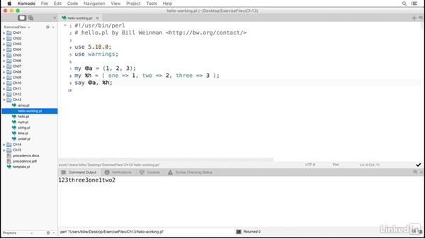 The print() and say() functions: Perl 5 Essential Training