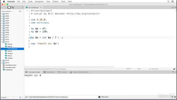 Numeric functions: Perl 5 Essential Training