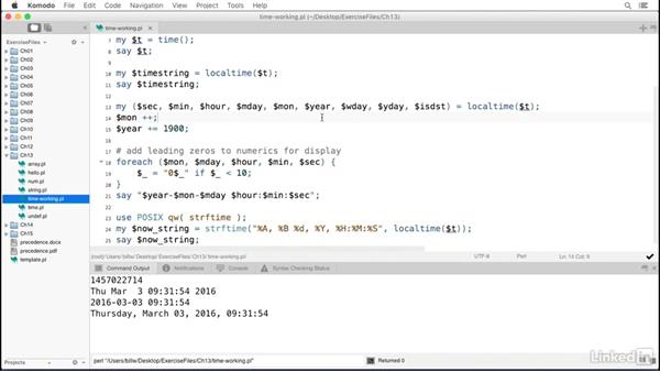 Time functions: Perl 5 Essential Training