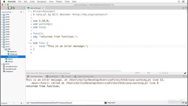 Using Carp for error messages: Perl 5 Essential Training