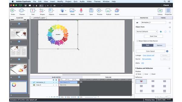 Adding external animations: Captivate 9 Essential Training
